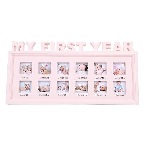 Baby My First Year Photo Frame Multi-Photo Moments Keepsake Picture Frame Girls Boys Photo Impression Kit Album Newborn Baby Shower Frame Birthday Christmas Memories Christening Gift