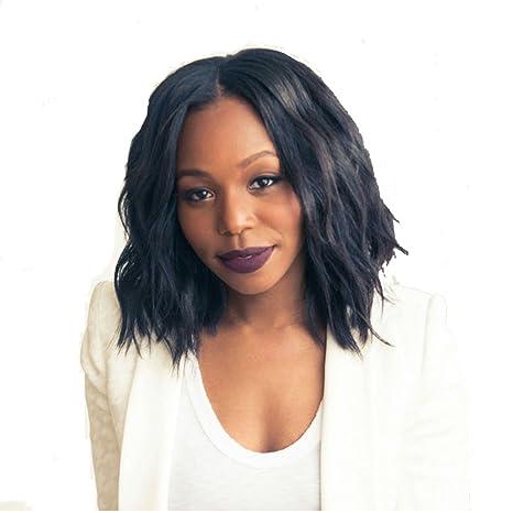 Royalfirst Bob Perruques Pour Femme Noire Courte Ondulee Afro
