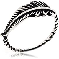 Sovats Leaf Fashion Feather Ring For Women 925 Sterling Silver Oxizidize Surface - Simple, Stylish &Trendy Nickel Free…