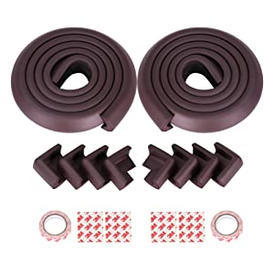 GHB Table Edge Guard 2 Rolls with 8 Corner Protectors Brown