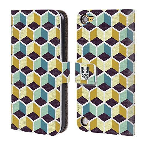 Head Case Cubi Multicolore Stampe Ottiche Geometriche Cover telefono a portafoglio in pelle per Apple iPod Touch 5G 5th Gen / 6G 6th Gen