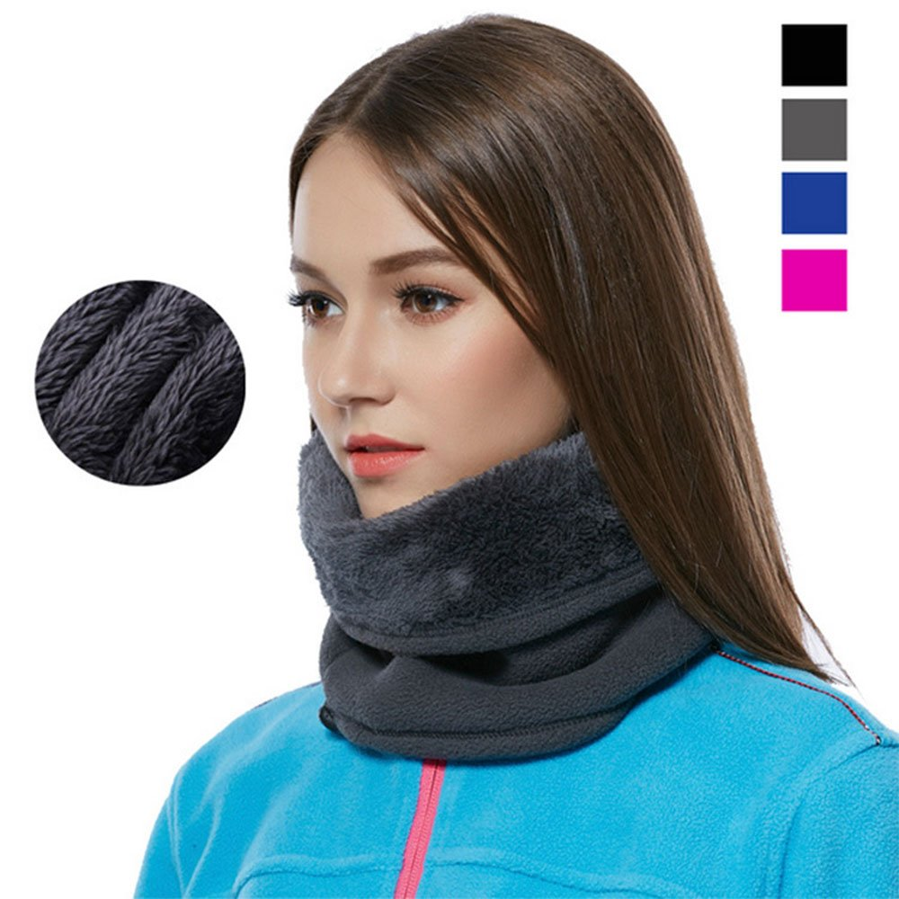 Pink CUSHY Dual-layer Scarf Gaiter Neck Warmer Tube Men Women39; s Fleece Balaclava Thermal Warm Camping Hiking Thermal Adjusta Head Scarf