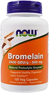 NOW Supplements, Bromelain (Natural Proteolytic Enzyme) 2,400 GDU/g - 500 mg, Natural Proteolytic Enzyme*, 120 Veg Capsules