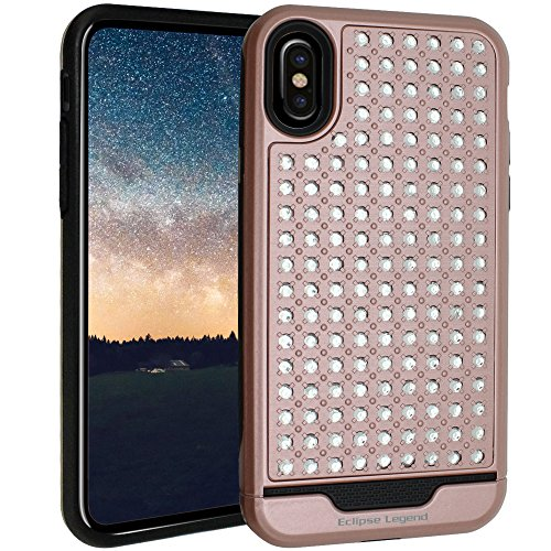 iPhone X Case, iPhone 10 Case Bling Rhinestone Hybrid Heavy Duty Dual Layer Protective Cover for Apple iPhone X and iPhone 10, Rose Pink
