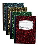 4-Pack Composition Notebook, 9-3/4'' x 7-1/2'', Wide Rule, 100 Sheet (200 Pages), Weekly Class Schedule and Multiplication/Conversion Tables - Colors: Red, Green, Yellow, Blue. (4-Pack)