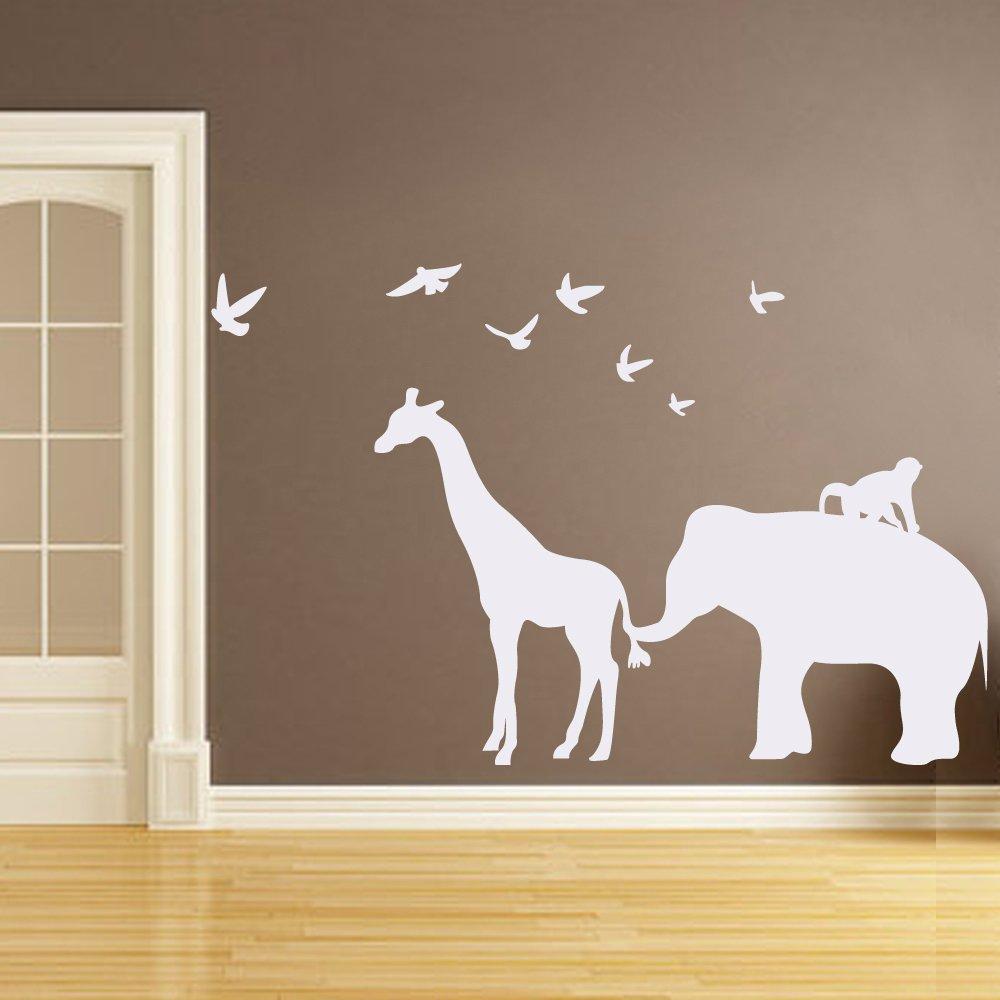 BATTOO Vinyl Safari Animal Wall Decal - Elephant Giraffe Birds Monkey Jungle Silhouette Wall Sticker for Kids Room Baby Nursery(57'' h x71.5 w,Gray) by BATTOO