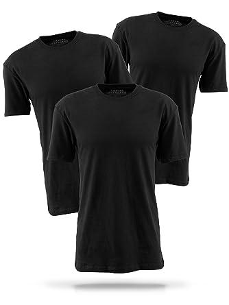 be988ed392ff97 Basic T-Shirt Herren aus hochwertiger Baumwolle - 3er Pack aus 100%  Baumwolle schwarz Shirts für Männer  Amazon.de  Bekleidung