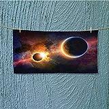 alsoeasy enduracool Towel Planet in Milky Way Dark Nebula Gas Cloud Celestial Solar Eclipse Theme Soft & Absorbent L35.4 x W11.8 inch