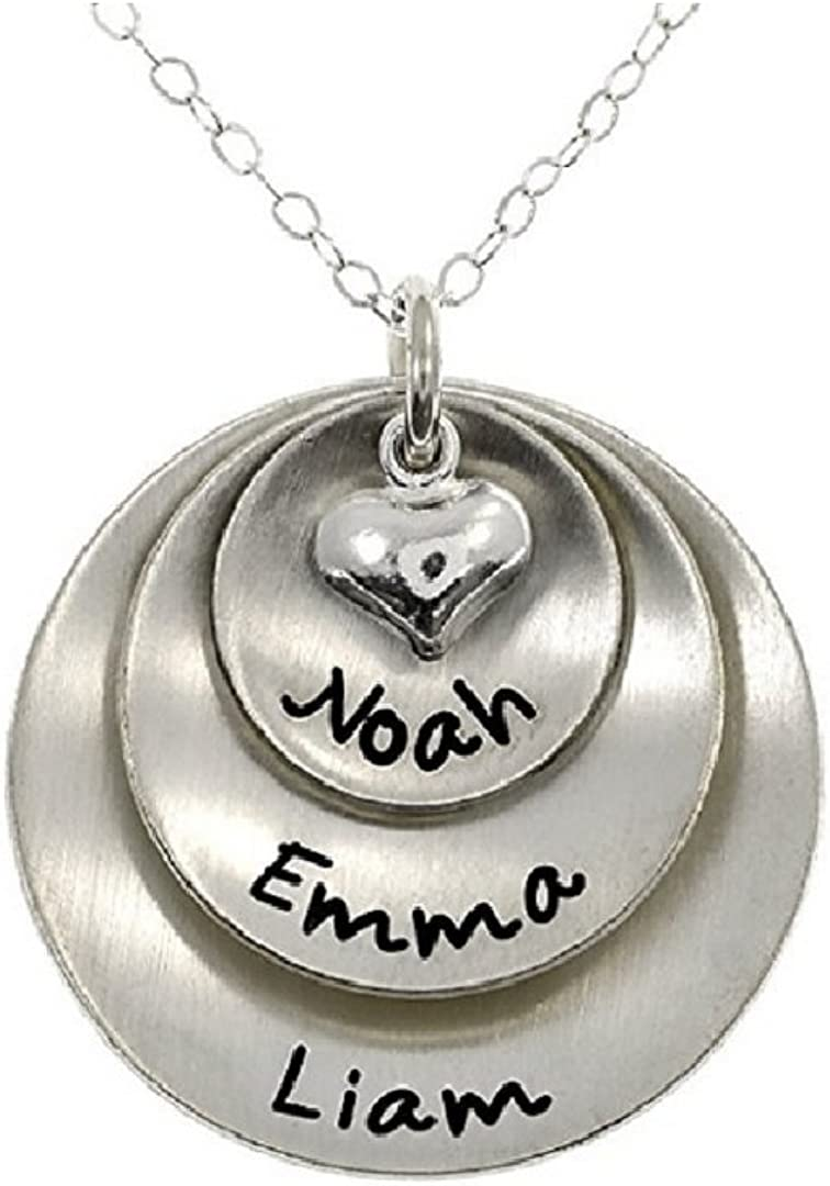 NOUMANDA Lucky Two Three or Four Personalized Round Custom Made Stainless Steel Pendant Necklace,Unique Charm with Names or Words of Your Choice