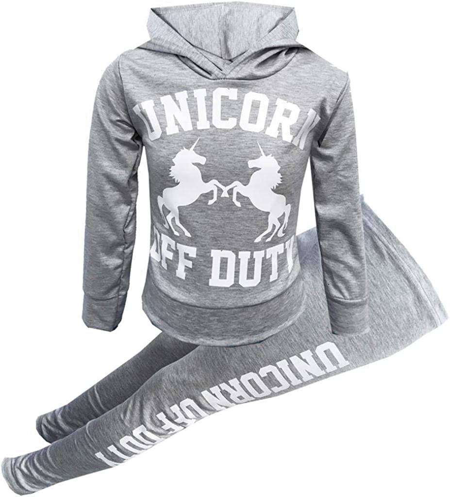 7STYLES/® Girls Unicorn Long Sleeve Hooded Top /& Legging Set 7-13 Years