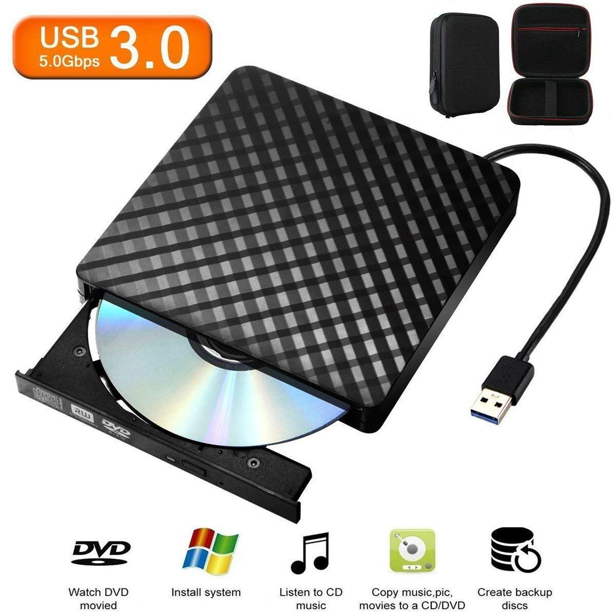 External CD/DVD Drive for Laptop & MacBook, with USB 3.0 Plug for Quick Data Transfer, Fast Writing & Reading Speed 8 X DVD –R, Ultra Thin (CD/DVD Driver + Bag) - Tecnugiz