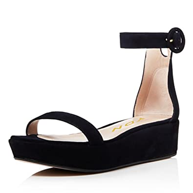 aa7ca6898688 YDN Women Open Toe Platform Wedge Sandals Mid Heel Ankle Strap Summer Shoes  with Buckle Black