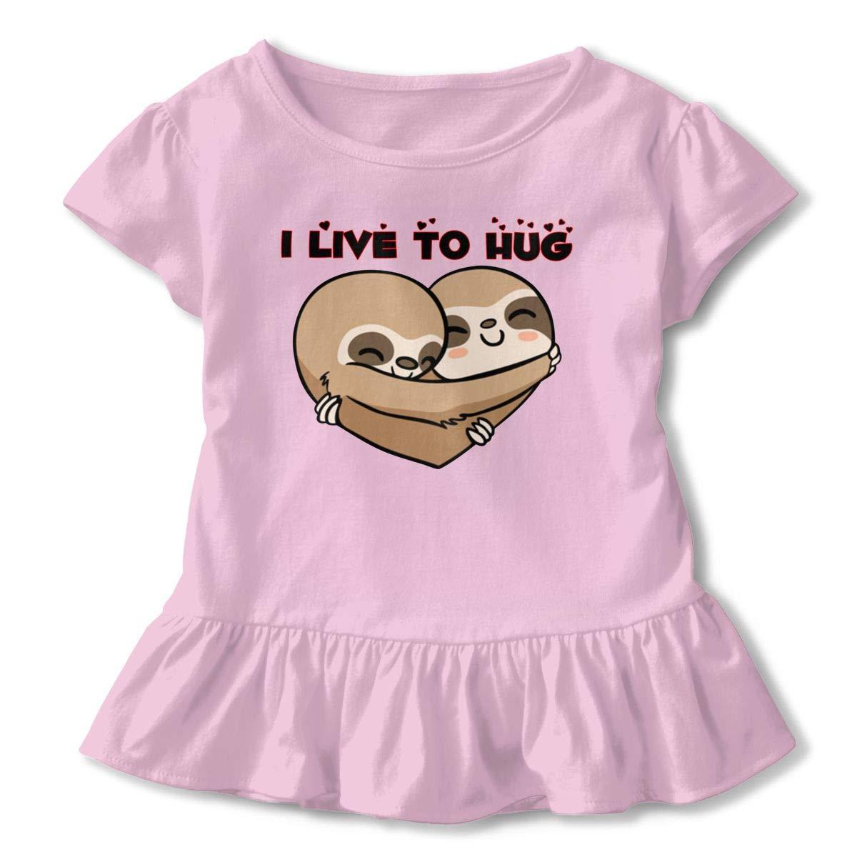 NMDJC CCQ I Live to Hug Sloth Baby Skirts Cute Kids T Shirt Dress Comfortable Flounces Outfits