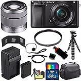 Sony Alpha a6000 Mirrorless Digital Camera with 16-50mm Lens (Black) + Sony SEL 1855 18-55mm Zoom Lens + 64GB Bundle 12 - International Version (No Warranty)