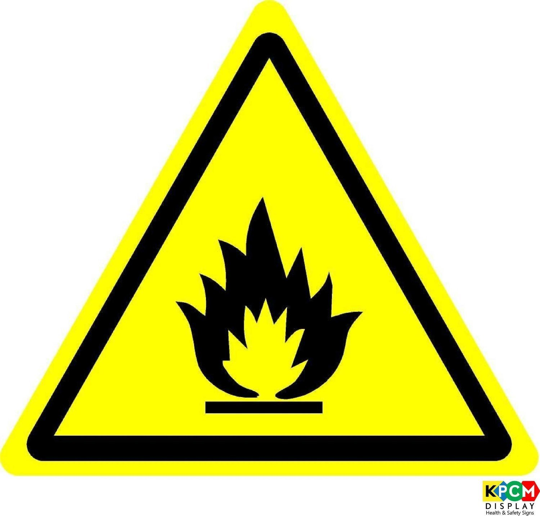 /Self Autocollant 50/mm de diam/ètre /étiquette de s/écurit/é ISO Sign/ /International avertissement mati/ères inflammables Symbol/