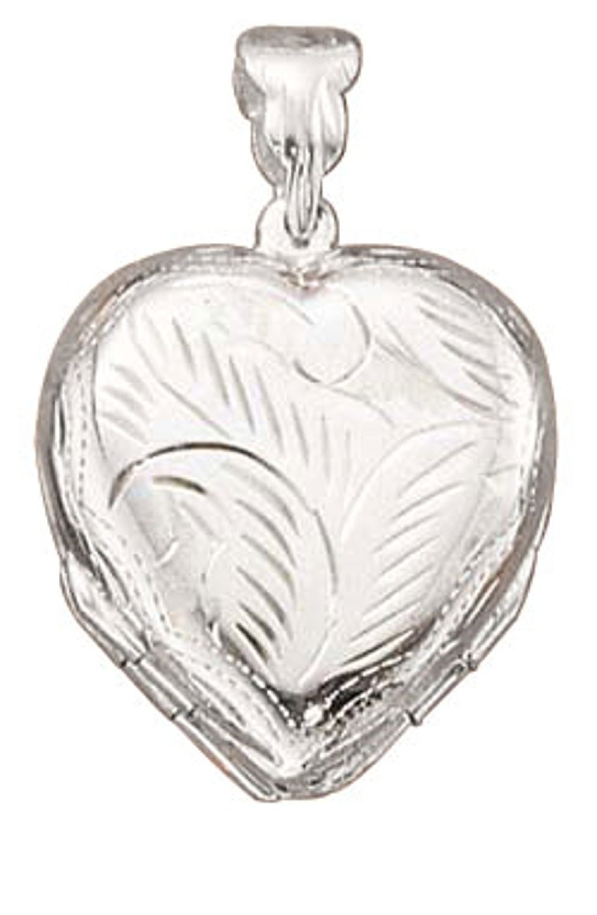 Sterling Silver Womens 30'' 1mm Box Chain Engraveable Four 4 Picture Etched Heart Locket Pendant Necklace