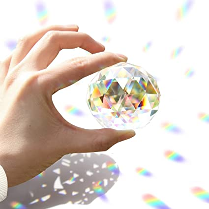 Together-life Clear Cut Crystal Ball Prisms Glass Sphere Faceted Gazing  Ball for Home Décor, Suncatcher (60mm /2 4in)