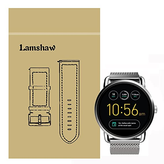Lamshaw Magnetic Milanese Loop Stainless Steel Magnet Closure Lock Band for Fossil Q Wander Smartwatch Strap (Milanese_Silver)