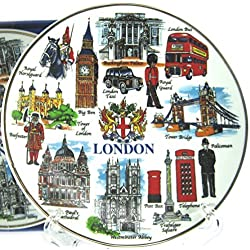 Fine Porcelain Plate - London Everything with City of London Crest/ Coat of Arms (15 cm with Stand), London Collectable Souvenir