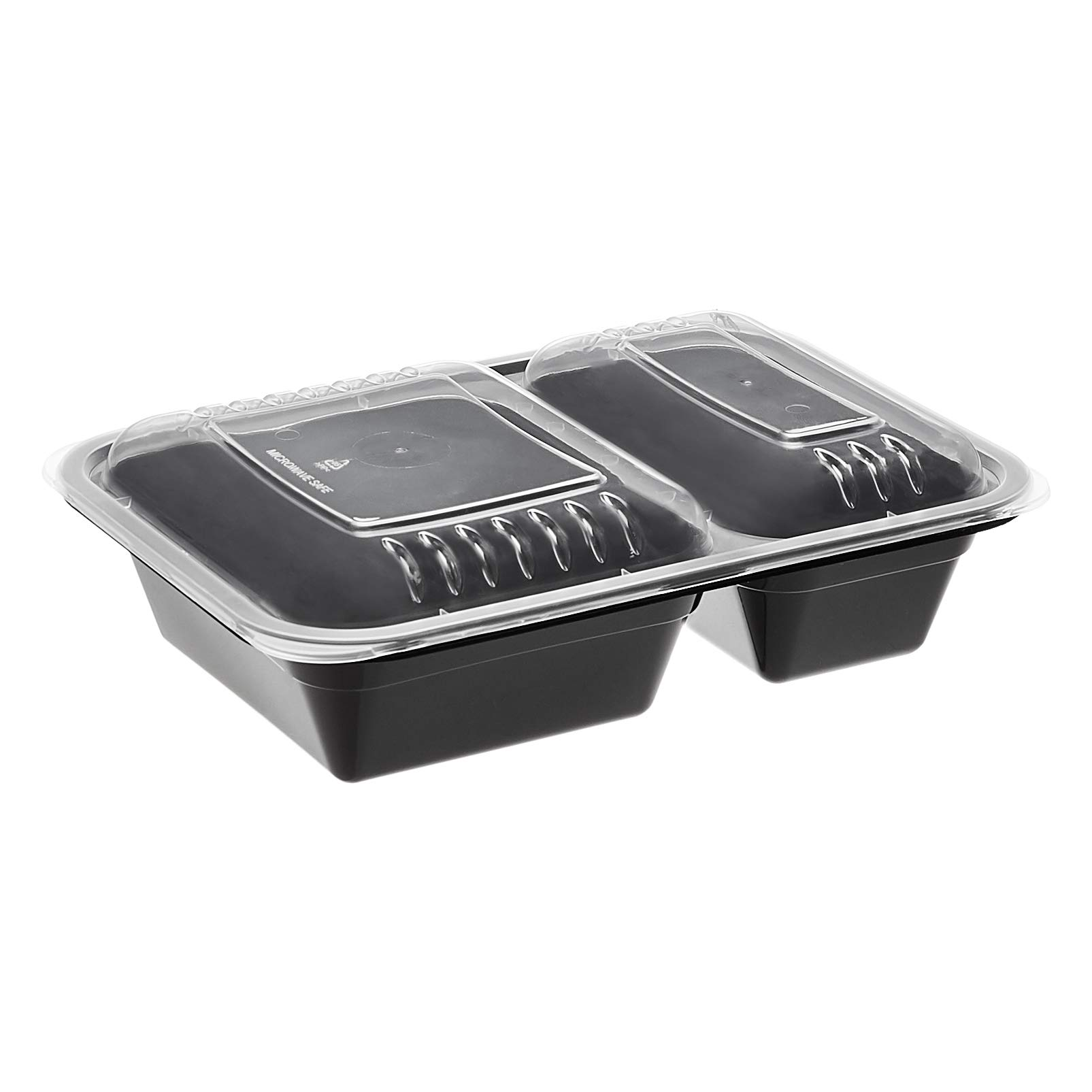 Amazon Basics 2 Compartment Meal Prep Containers - BPA Free, Microwave/Dishwasher/Freezer Safe, 32 ounces, 15-Pack