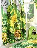 Doubles rideaux Jungle avec lions, girafes, singes, éléphants, etc.