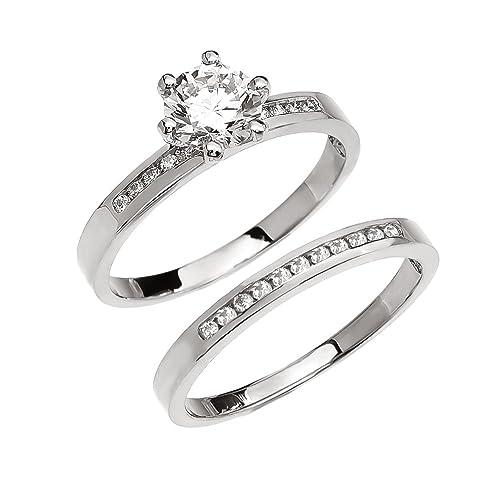 10 K oro blanco diamante compromiso y carril juego de anillos de boda con 1 Ct