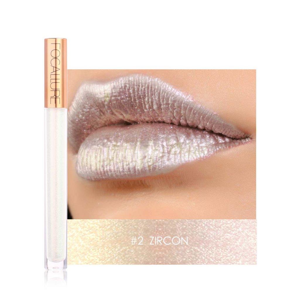 ROMANTIC BEAR Shimmer Lipgloss Matt Wasserdicht, Diamant Metallic Lippenstift Flüssig Langanhaltend für Lippen Makeup(ALEXANDRITE)