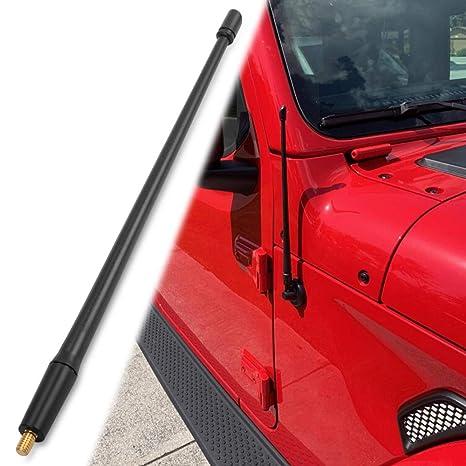 13 inches Aluminum Antenna Replacement Designed Optimized FM//AM Reception Antenna Compatible with Jeep Wrangler JK JKU JL Rubicon Sahara 2007-2019