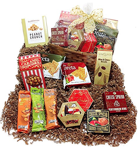 Cheese & Nuts Savory Gourmet Gift Basket - Flavored Cheese Spreads, Nuts, Crackers, Peanut Brittle & Caramel Popcorn