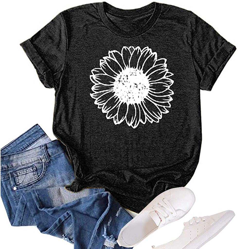 Lozeny Women Sunflower Graphic PatchworkTshirts Funny Fashion Short Sleeve Summer Fit Shirt Blouses Casual Pullover Tops Tee