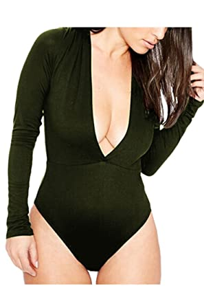 f64b87614f PinkWind Women s Plunge V Neck Long Sleeve One Piece Bodysuit Jumpsuit  (Army Green