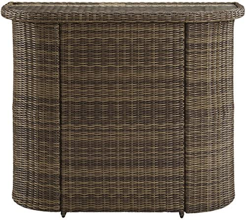Crosley Furniture Bradenton Outdoor Wicker Bar with Glass Top – Weathered Brown