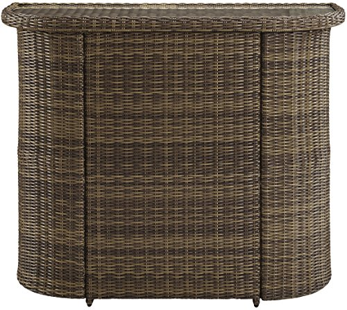 Crosley Furniture Bradenton Outdoor Wicker Bar with Glass Top - Weathered Brown