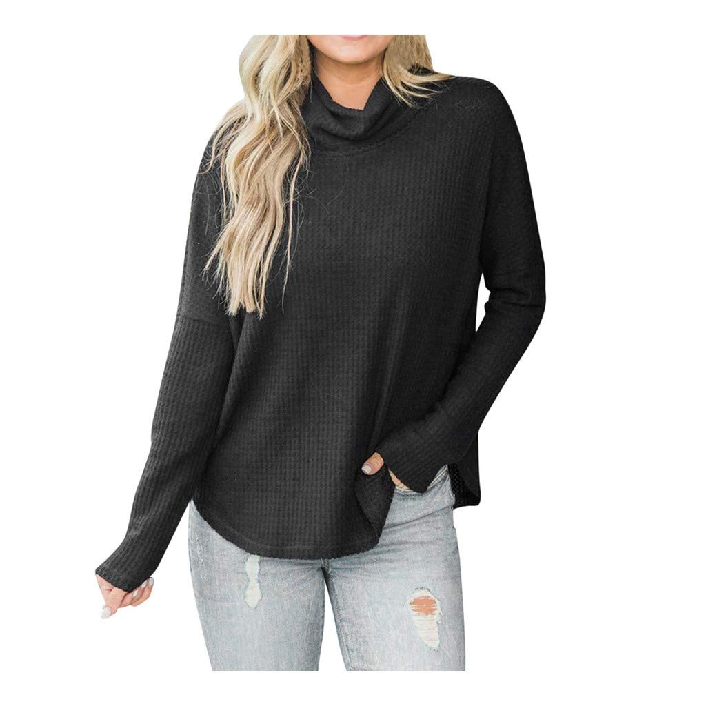 Women Sweater Pullover Office Lady Knitted Solid Color Long Sleeve Turtleneck Blouse Tops (Black,L) by ANERYA_NEW