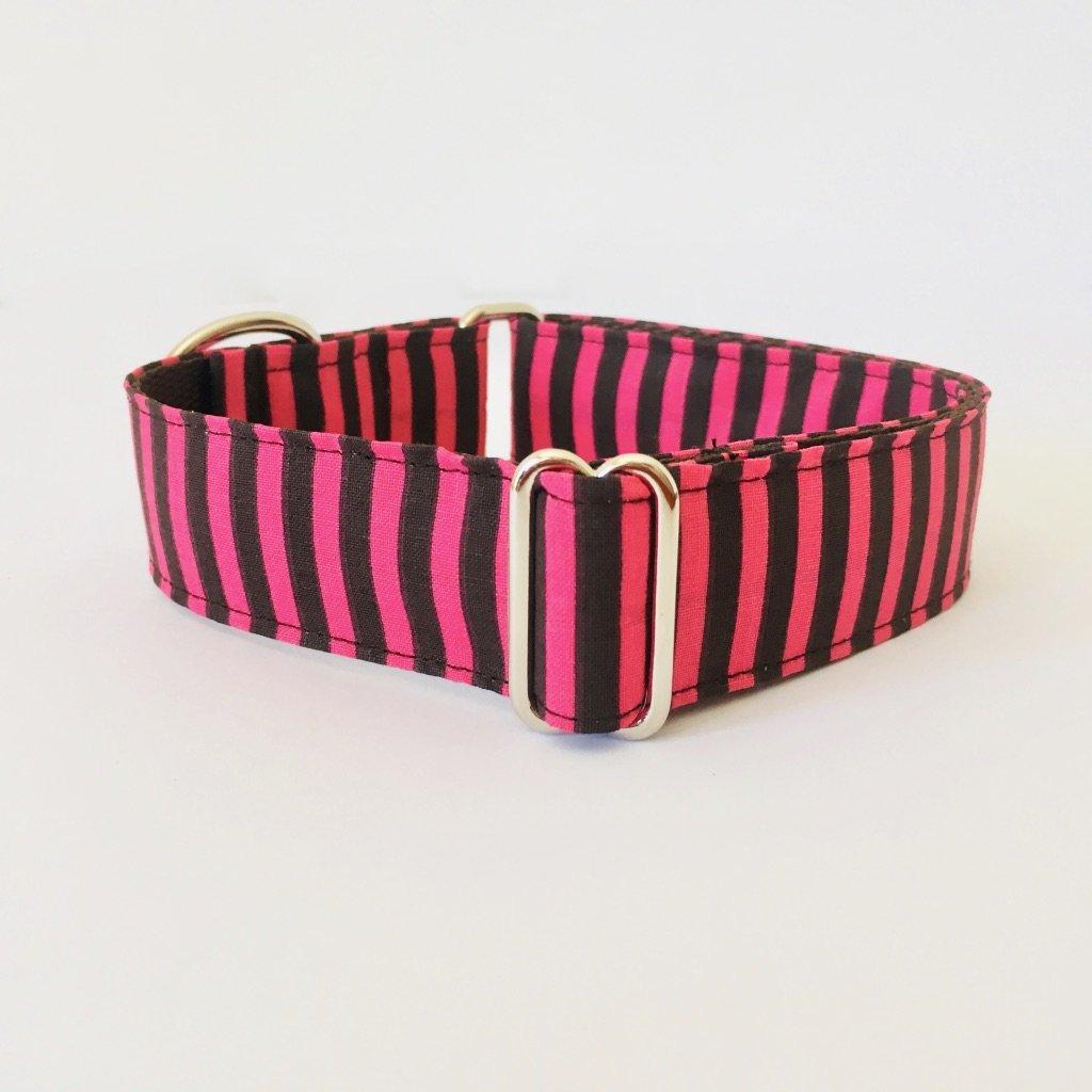 Collar Perro Martingale Modelo Rayas Rosa y Marron