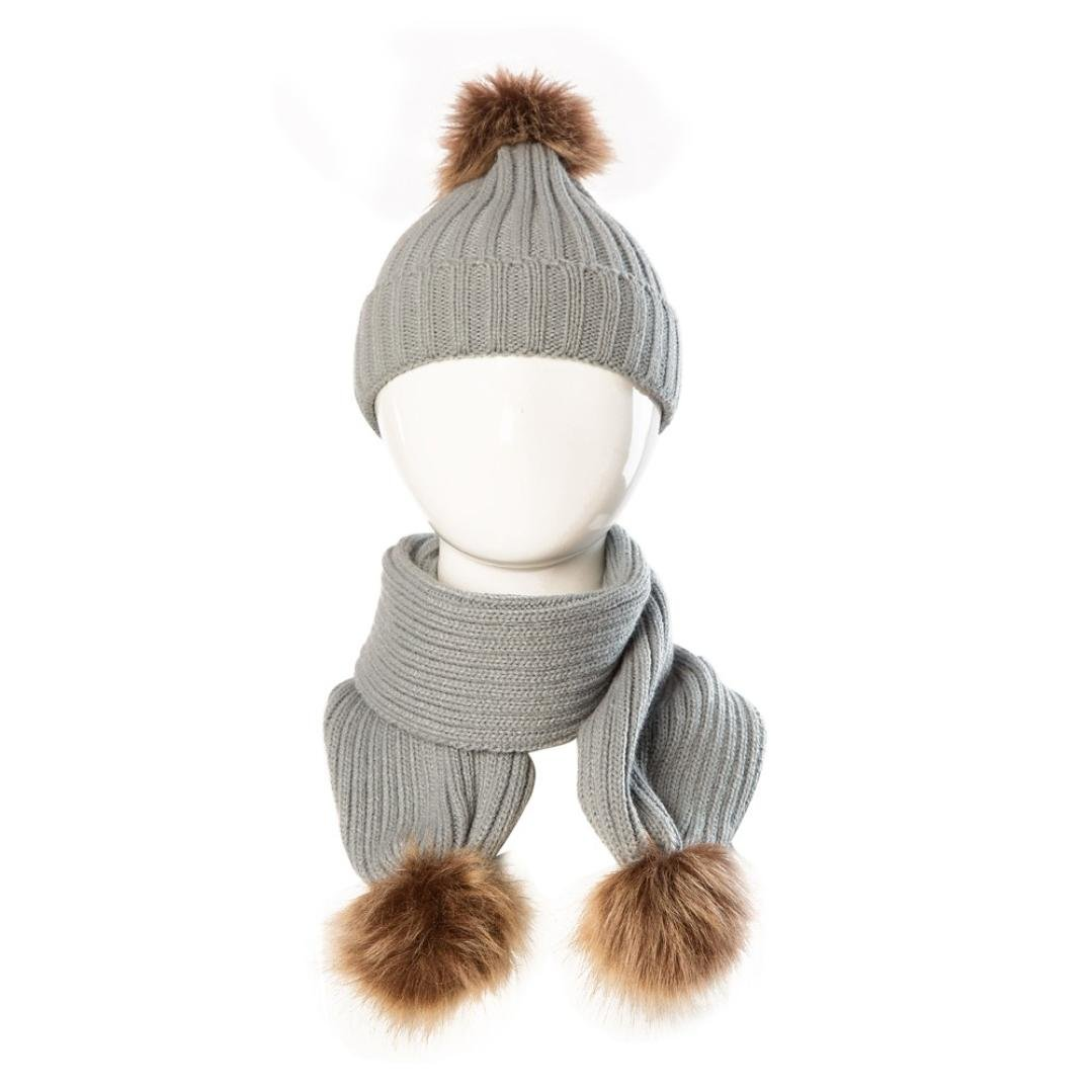 Dreamyth Baby Cute Winter Kids Baby Single Ball Hats Keep Warm Set Cute Hat Scarf New