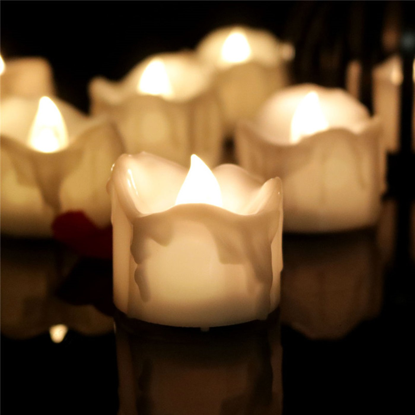 Dellukee 96pcs Pillar Flameless Candles Battery Operated No Flicker Warm White Small Cute LED Tea Lights Fake Candle Bulk for Wedding Birthday Christmas Family Party Decoration
