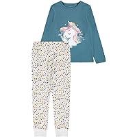 NAME IT Nkfnightset Real Teal Unicorn Noos Juego de Pijama (Pack de 2) para Niñas