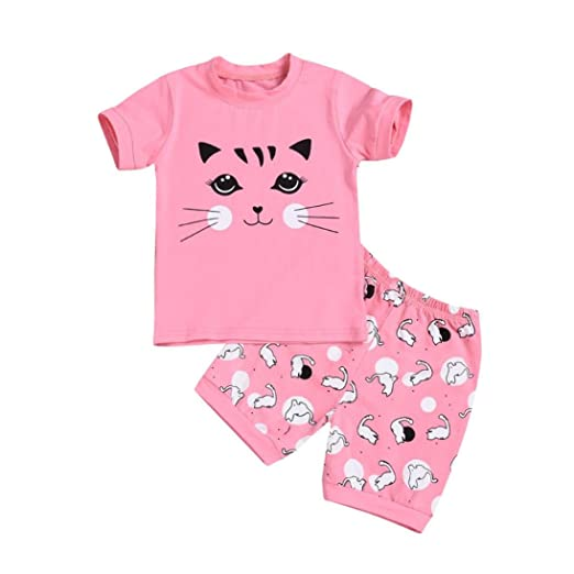 4ae96ed31 Amazon.com: vermers Clearance Toddler Kids Clothes Set - Baby Girl Pajamas  Cartoon Cat Print Tops Shorts Outfits Set: Clothing