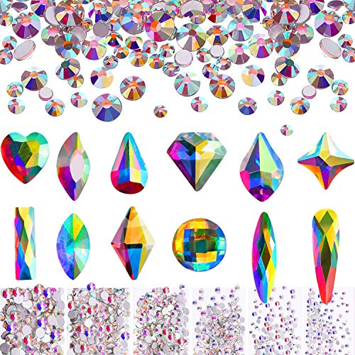 Nail Crystals AB Rhinestones Set 1728 Pieces Nail Round Flatback Beads and 240 Pieces Flat Back Crystal Rhinestones Gems for Nails Art Clothes Shoes Bags Crafts (240 and 1728 Mix Shape)