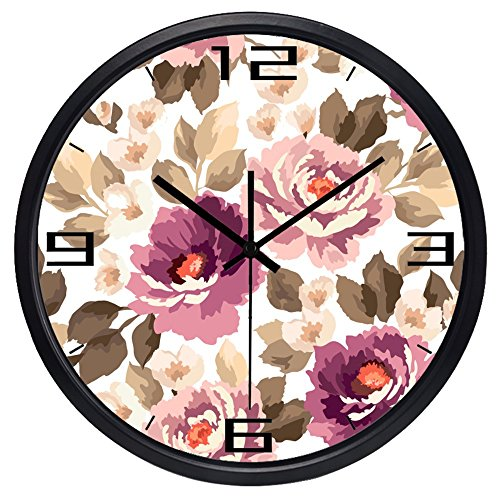 12inch Black Metal Frame Beautiful Watercolor Peony Picture Silent Non Ticking Glass Quartz Decorative Wall Clock (Clock Decorative Wall Peonies)