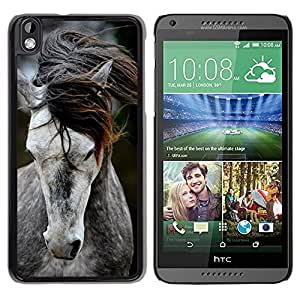 Design for Girls Plastic Cover Case FOR HTC DESIRE 816 Pony Horse Mane Beautiful Animal Grey OBBA