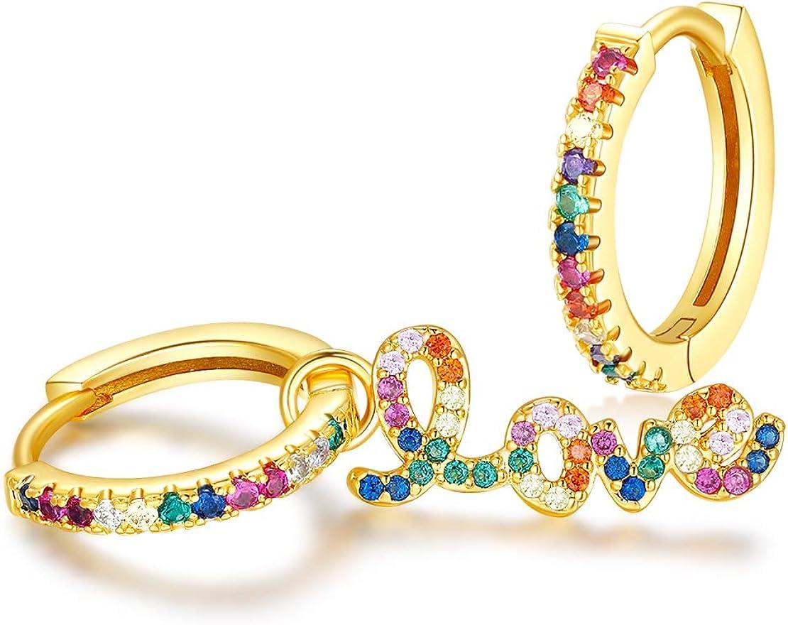 FINEFEY Rainbow Cubic Zirconia Huggie Earrings,18K and White Gold Plated Hoop Earrings for women Girls
