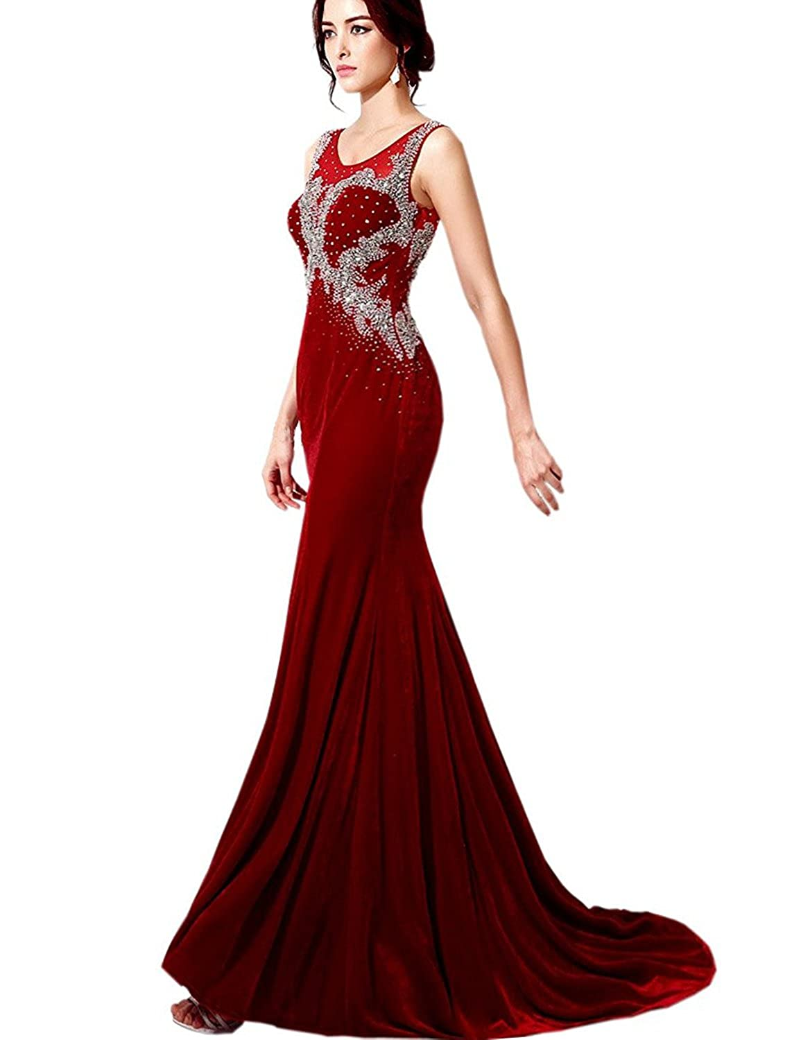 Belle House Mermaid Velvet Formal Evening Dress Celebrity Gown at Amazon Womens Clothing store: