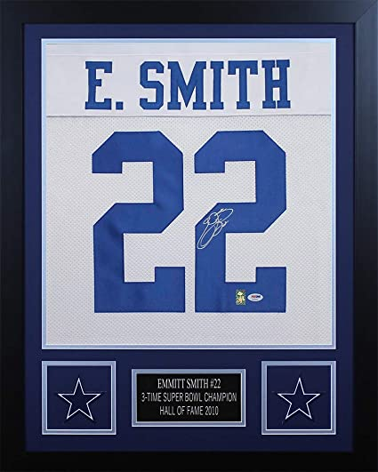 best website 98733 8ada8 Emmitt Smith Autographed Black Cowboys Jersey - Beautifully ...