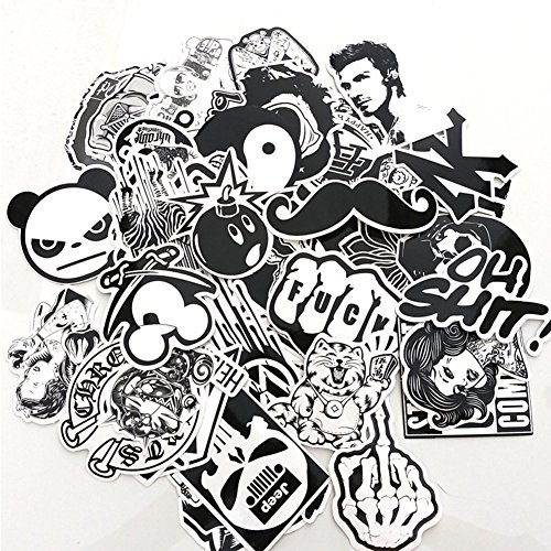Homyu Stickers Black White 60 Pcs PVC Decals Waterproof Sunlight-Proof DIY Ideals for Cars Motorbikes Portable Luggage Laptops