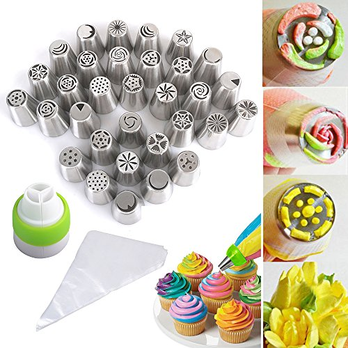 all-in-one-set-reelva-nozzle-piping-icing-tips-set-of-32-pieces-stainless-steel-icing-diy-100-dispos