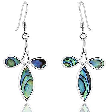 1f1b283f1 DTPSilver - 925 Sterling Silver and Abalone Paua Shell Cross Earrings:  Amazon.co.uk: Jewellery