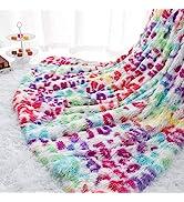 Homore Fluffy Leopard Blanket, Plush Cheetah Print Throw Blankets Soft Colorful Faux Fur Bed Thro...