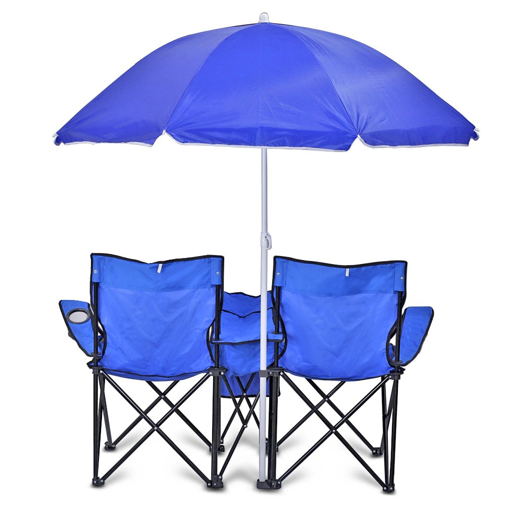Camping chairs with umbrella - Amazon Com Double Folding Chair With Removable Umbrella Table Cooler Bag Fold Up Steel Construction Dual Seat For Patio Beach Lawn Picnic Fishing Camping